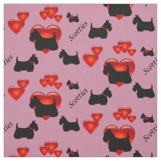 Scottish Terrier black/wheaten silhouette heart Fabric