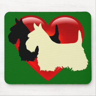 Scottish Terrier black/wheaten silhouette/heart Mouse Pad