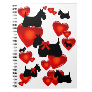 Scottish Terrier black/wheaten silhouette heart Notebook