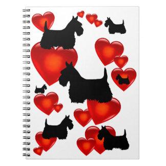 Scottish Terrier black/wheaten silhouette heart Notebook