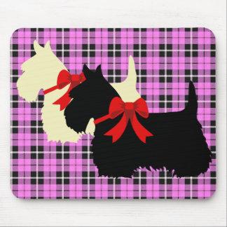 Scottish Terrier black/wheaten silhouette plaid Mouse Pad