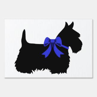 Scottish Terrier black/white blue bow Sign
