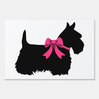 Scottish Terrier black/white blue/pink bow Sign