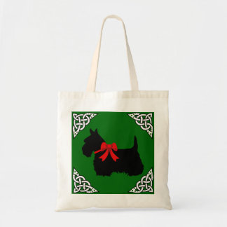 Scottish Terrier black/white, cletic braid, bow Tote Bag