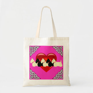 Scottish Terrier black/white, cletic braid, heart Tote Bag