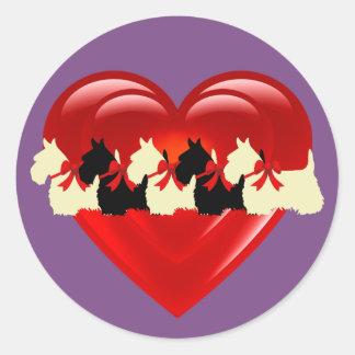 Scottish Terrier black/white double heart/bow Classic Round Sticker