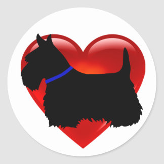 Scottish Terrier black/white heart, blue collar Classic Round Sticker