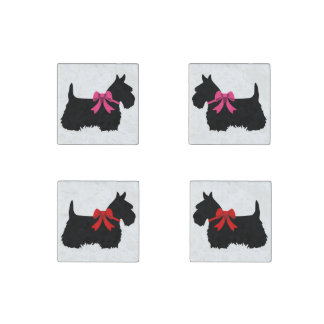 Scottish Terrier black/white red bow/pink bow Stone Magnets