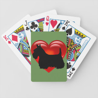 Scottish Terrier black/white red heart/bow/collar Bicycle Playing Cards