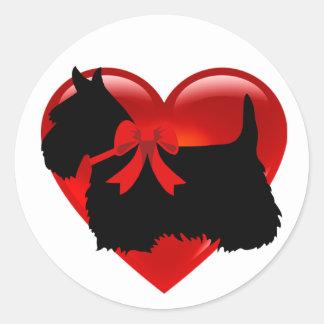 Scottish Terrier black/white red heart/bow/collar Classic Round Sticker