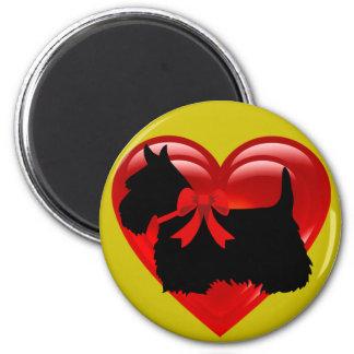 Scottish Terrier black/white red heart/bow Magnet