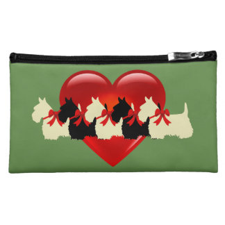 Scottish Terrier black/white red heart/zazle green Makeup Bag