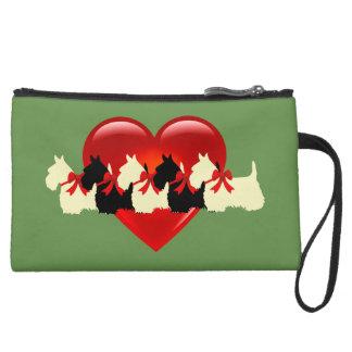 Scottish Terrier black/white red heart/zazle green Suede Wristlet