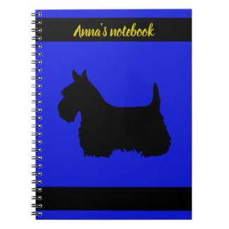 Scottish Terrier black/white silhouette blue/name Notebook