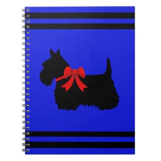 Scottish Terrier black/white silhouette blue/name Notebook