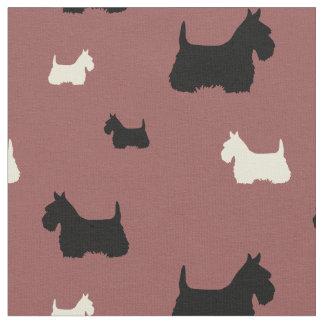 Scottish Terrier black/white silhouette Fabric