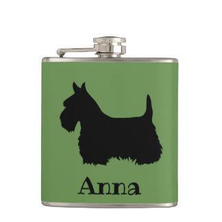 Scottish Terrier black/white silhouette/Gordan Hip Flask