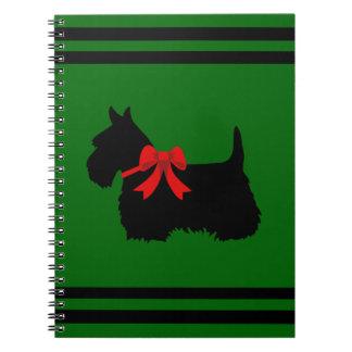 Scottish Terrier black/white silhouette green/name Notebook
