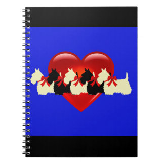 Scottish Terrier black/white silhouette heart blue Notebook