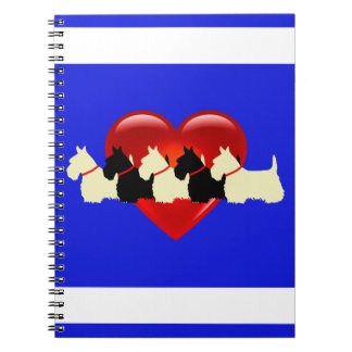Scottish Terrier black/white silhouette heart blue Notebooks
