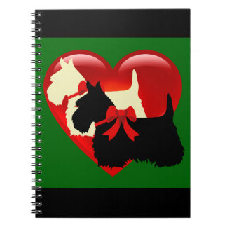 Scottish Terrier black/white silhouette heart blue Spiral Notebook