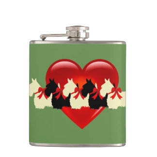 Scottish Terrier black/white silhouette heart/bow Hip Flask