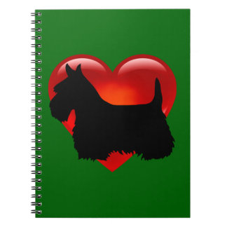 Scottish Terrier black/white silhouette heart/bow Notebook