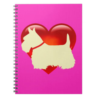 Scottish Terrier black/white silhouette heart/bow Notebooks