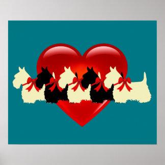 Scottish Terrier black/white silhouette heart/bow Poster
