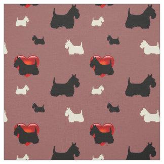 Scottish Terrier black/white silhouette heart Fabric