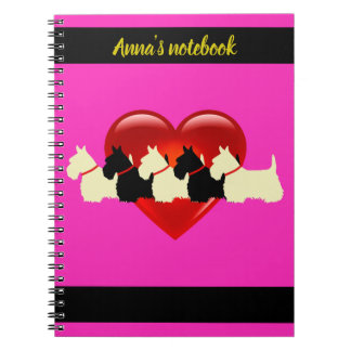 Scottish Terrier black/white silhouette heart/name Notebook