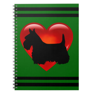 Scottish Terrier black/white silhouette heart/name Notebooks
