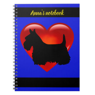 Scottish Terrier black/white silhouette heart/name Spiral Notebook