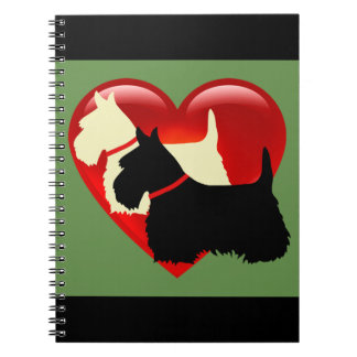 Scottish Terrier black/white silhouette heart Notebook
