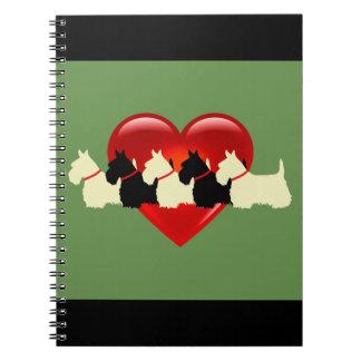 Scottish Terrier black/white silhouette heart Notebook
