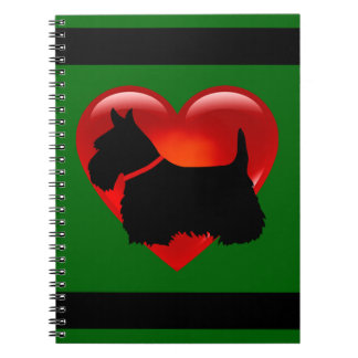 Scottish Terrier black/white silhouette heart Notebooks