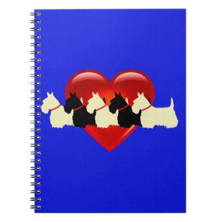 Scottish Terrier black/white silhouette heart Notebooks