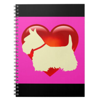 Scottish Terrier black/white silhouette heart pink Notebook