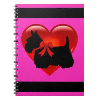 Scottish Terrier black/white silhouette heart pink Notebooks