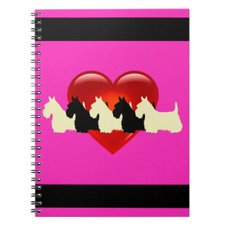 Scottish Terrier black/white silhouette heart pink Spiral Notebook