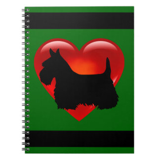 Scottish Terrier black/white silhouette heart Spiral Notebook