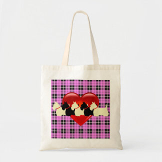 Scottish Terrier black/white silhouette heart Tote Bag