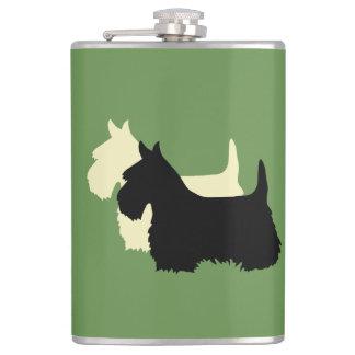 Scottish Terrier black/white silhouette Hip Flask