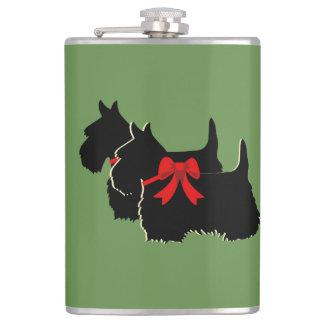 Scottish Terrier black/white silhouette/names Hip Flask
