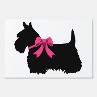 Scottish Terrier black/white silhouette pink bow Sign