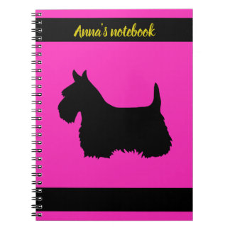 Scottish Terrier black/white silhouette pink/name Notebook