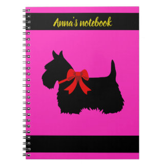 Scottish Terrier black/white silhouette pink/name Notebooks