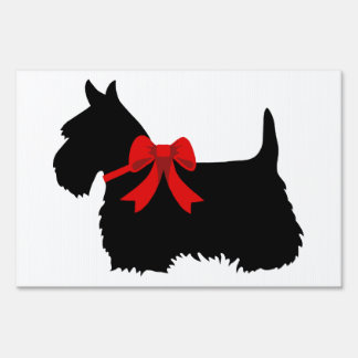 Scottish Terrier black/white silhouette red bow Sign