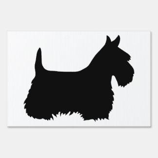 Scottish Terrier black/white silhouette Sign