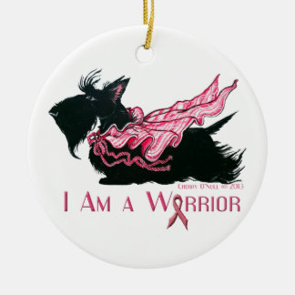 Scottish Terrier Breast Cancer Warrior Round Ceramic Ornament